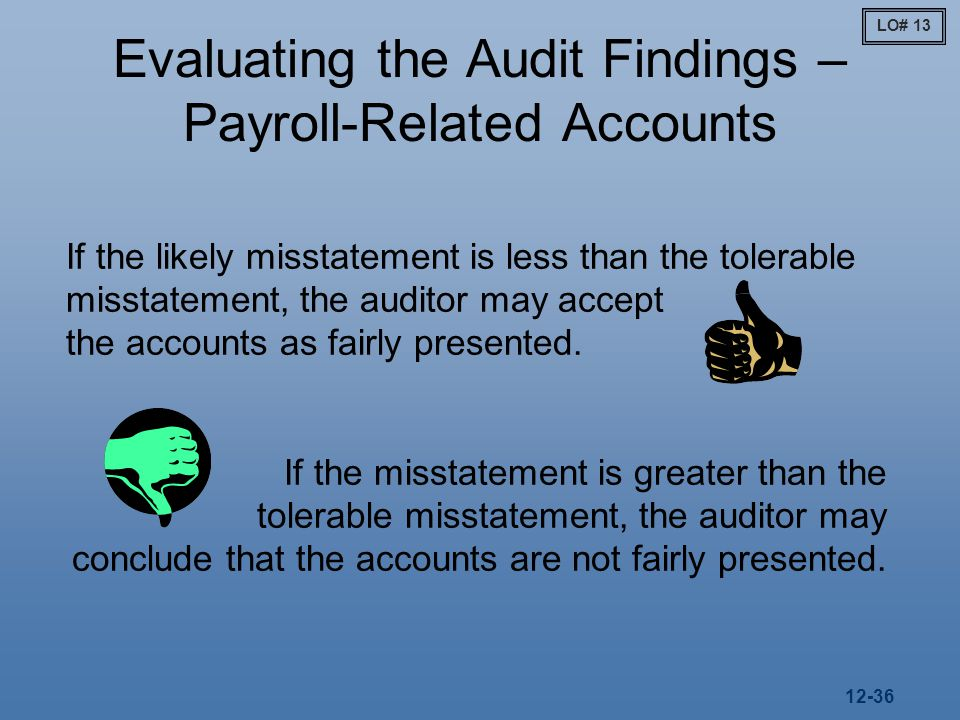 12-36 Evaluating the Audit Findings – Payroll-Related Accounts If the likely misstatement is less than the tolerable misstatement, the auditor may accept the accounts as fairly presented.