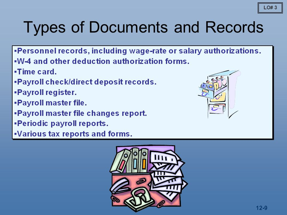 12-9 Types of Documents and Records LO# 3