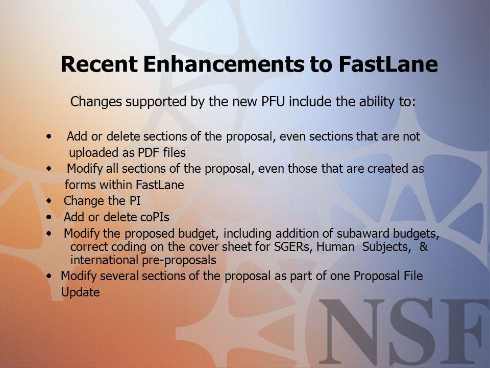 NSF Fastlane Updates NCURA Region VI & VII Conference
