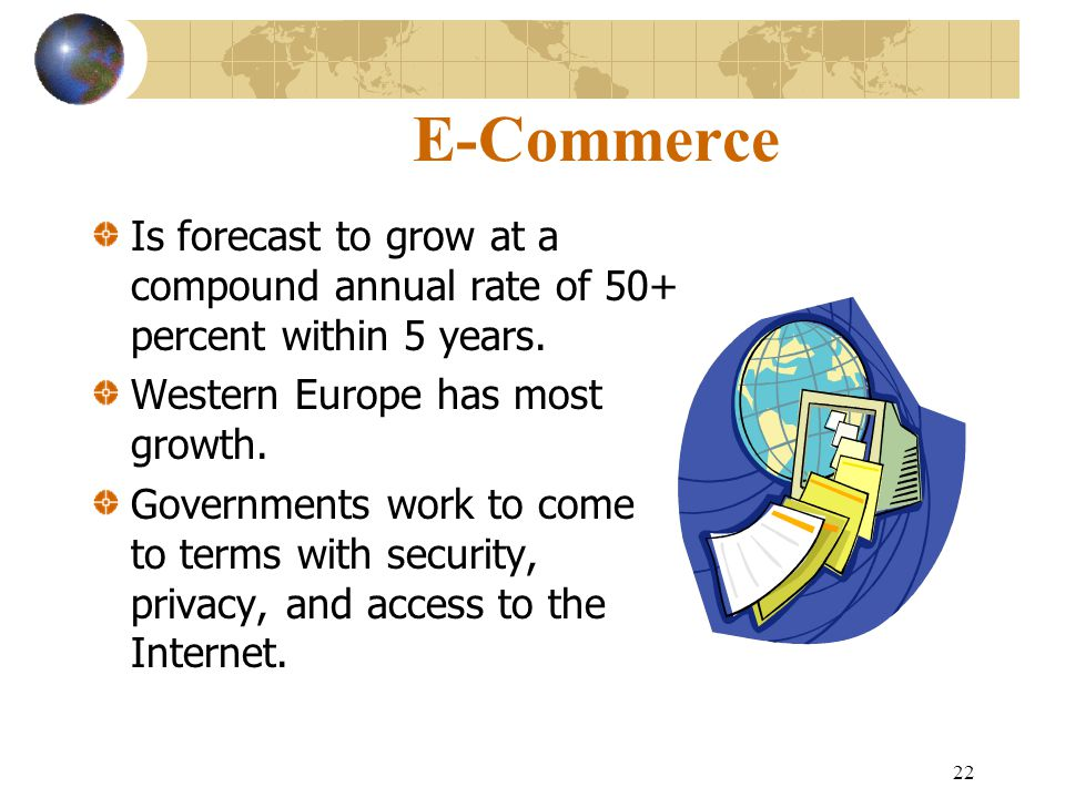 22 E-Commerce Is forecast to grow at a compound annual rate of 50+ percent within 5 years.