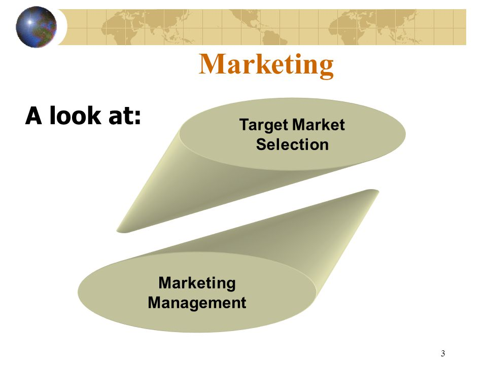 3 Marketing A look at: Target Market Selection Marketing Management