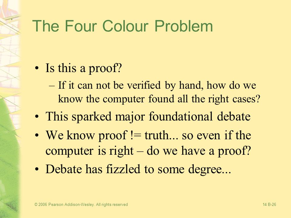© 2006 Pearson Addison-Wesley. All rights reserved14 B-26 The Four Colour Problem Is this a proof.