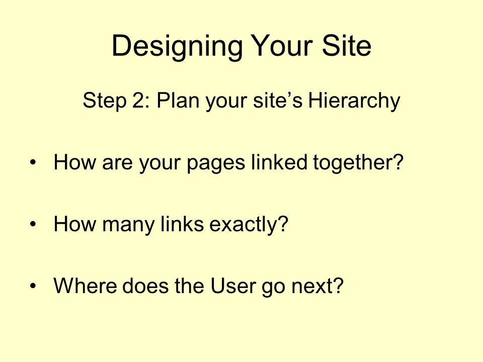 Designing Your Site Step 2: Plan your site's Hierarchy How are your pages linked together.