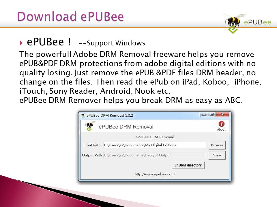 EPUBee , Authorize Adobe Copy2, Download ePUBee3, Removing