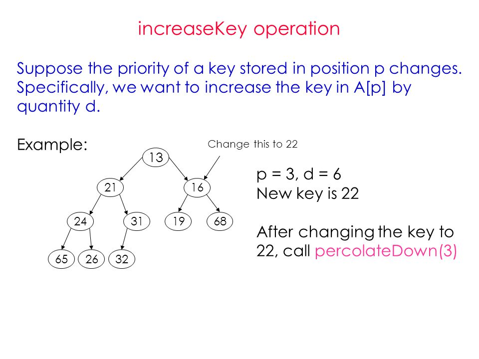 increaseKey operation Suppose the priority of a key stored in position p changes.