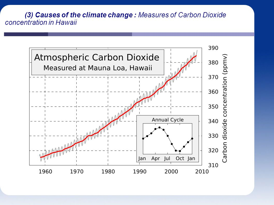 (3) Causes of the climate change : Measures of Carbon Dioxide concentration in Hawaii