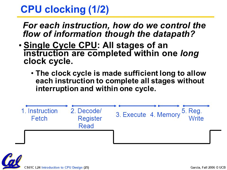 CS61C L24 Introduction to CPU Design (25) Garcia, Fall 2006 © UCB CPU clocking (1/2) Single Cycle CPU: All stages of an instruction are completed within one long clock cycle.