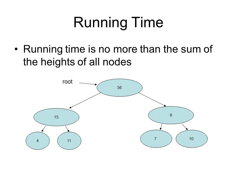 Running Time Running time is no more than the sum of the heights of all nodes root