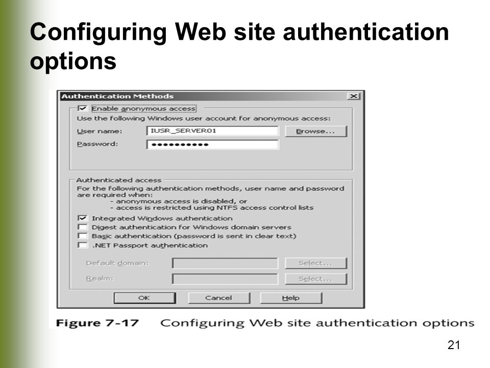 21 Configuring Web site authentication options