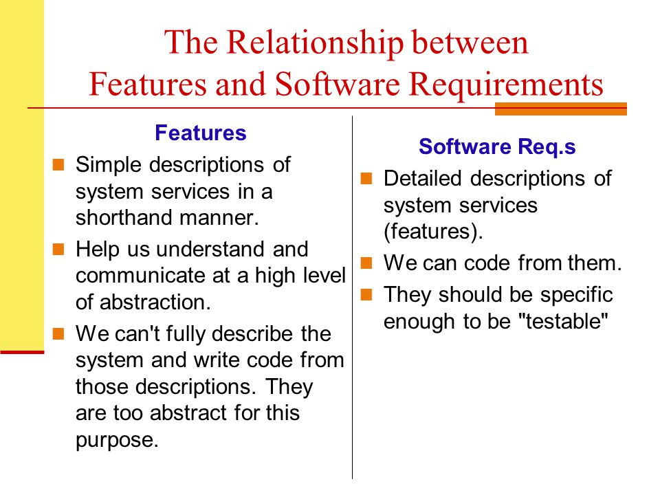 The Relationship between Features and Software Requirements Features Simple descriptions of system services in a shorthand manner.