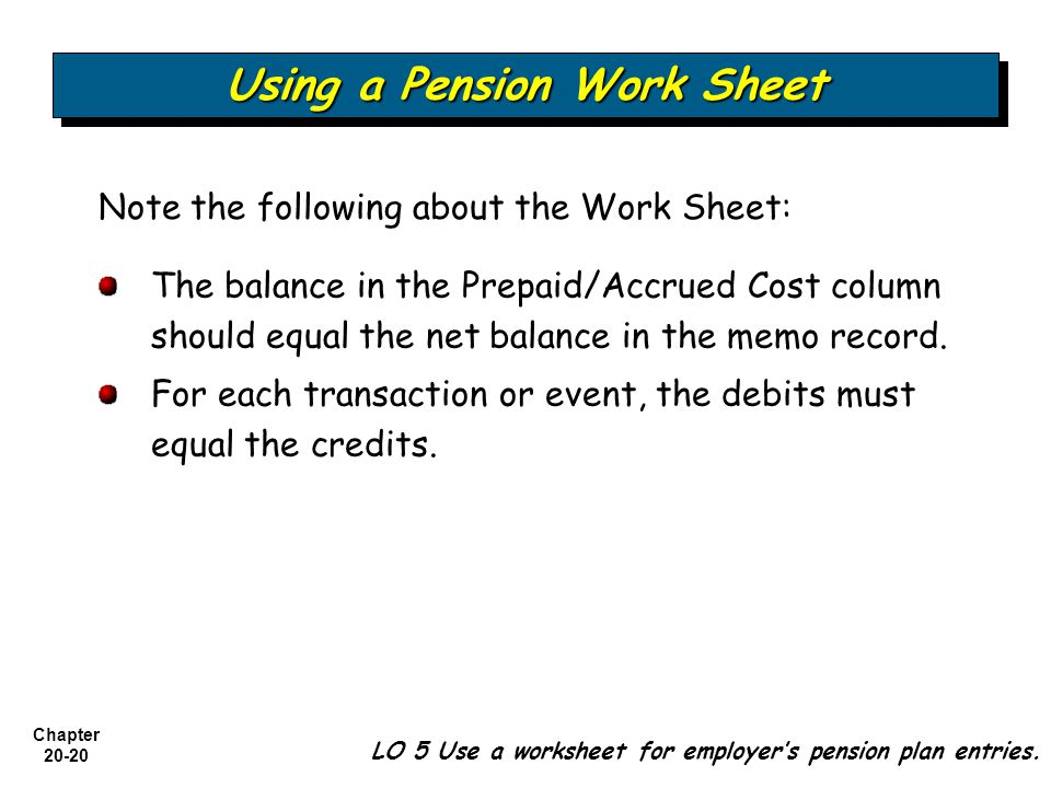 Chapter Note the following about the Work Sheet: Using a Pension Work Sheet LO 5 Use a worksheet for employer's pension plan entries.