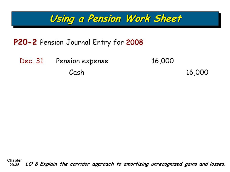 Chapter Using a Pension Work Sheet P20-2 P20-2 Pension Journal Entry for 2008 Cash 16,000 Pension expense 16,000Dec.