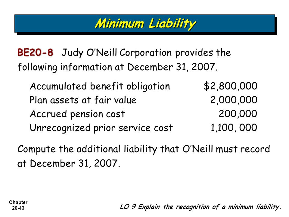 Chapter BE20-8 BE20-8 Judy O'Neill Corporation provides the following information at December 31, 2007.