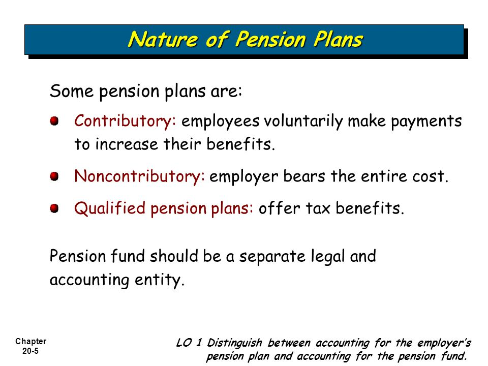 Chapter 20-5 Some pension plans are: LO 1 Distinguish between accounting for the employer's pension plan and accounting for the pension fund.