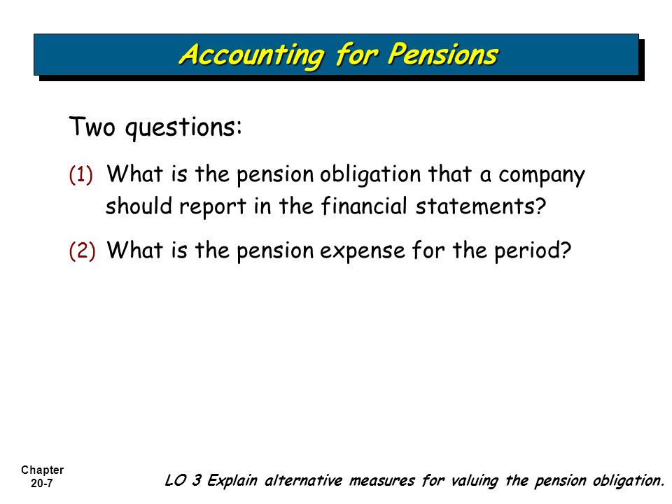 Chapter 20-7 Two questions: (1) (1) What is the pension obligation that a company should report in the financial statements.