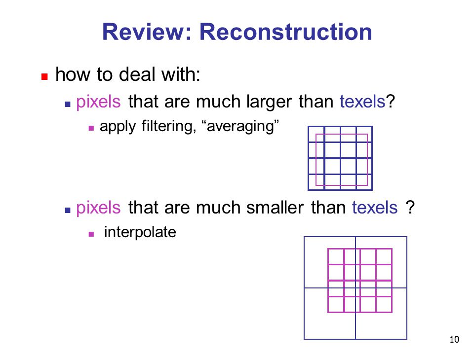 10 Review: Reconstruction how to deal with: pixels that are much larger than texels.