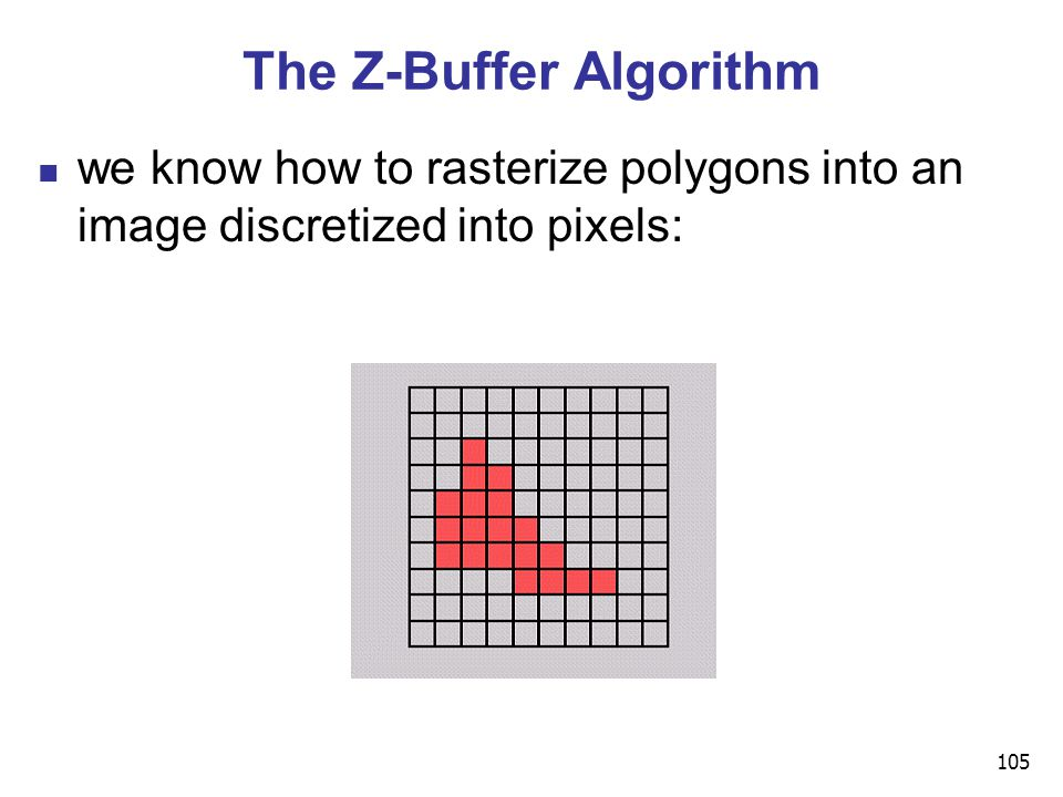 105 The Z-Buffer Algorithm we know how to rasterize polygons into an image discretized into pixels:
