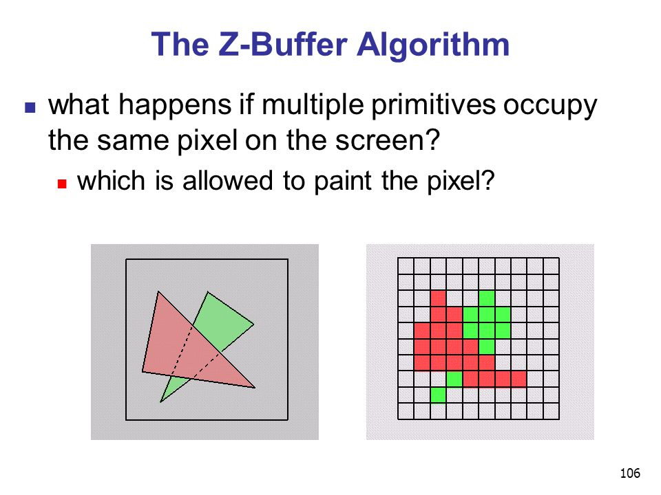 106 The Z-Buffer Algorithm what happens if multiple primitives occupy the same pixel on the screen.