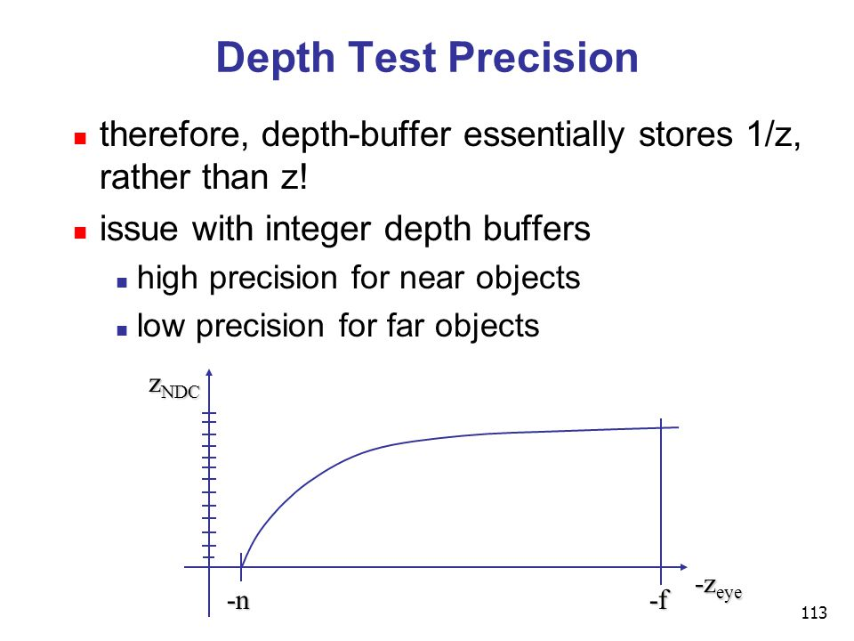 113 Depth Test Precision therefore, depth-buffer essentially stores 1/z, rather than z.