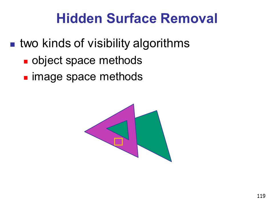 119 Hidden Surface Removal two kinds of visibility algorithms object space methods image space methods