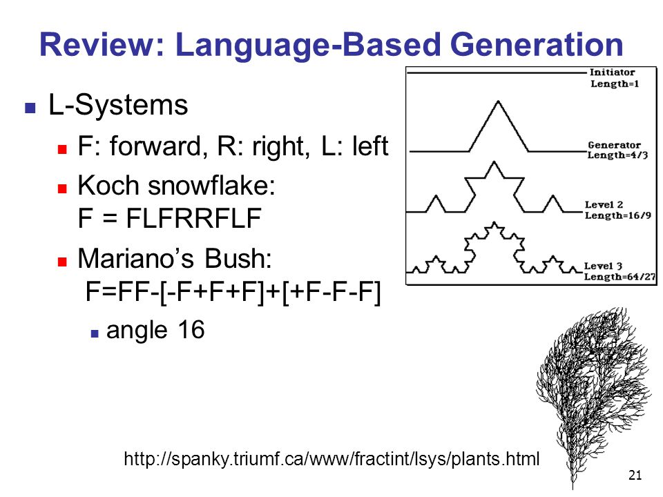 21 Review: Language-Based Generation L-Systems F: forward, R: right, L: left Koch snowflake: F = FLFRRFLF Mariano's Bush: F=FF-[-F+F+F]+[+F-F-F] angle 16