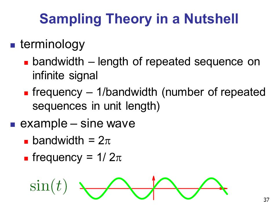 37 Sampling Theory in a Nutshell terminology bandwidth – length of repeated sequence on infinite signal frequency – 1/bandwidth (number of repeated sequences in unit length) example – sine wave bandwidth = 2  frequency = 1/ 2 