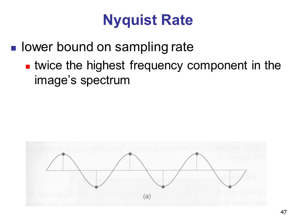 47 Nyquist Rate lower bound on sampling rate twice the highest frequency component in the image's spectrum