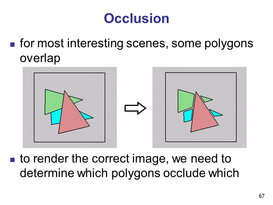 67 Occlusion for most interesting scenes, some polygons overlap to render the correct image, we need to determine which polygons occlude which