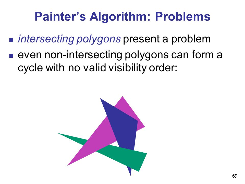 69 Painter's Algorithm: Problems intersecting polygons present a problem even non-intersecting polygons can form a cycle with no valid visibility order:
