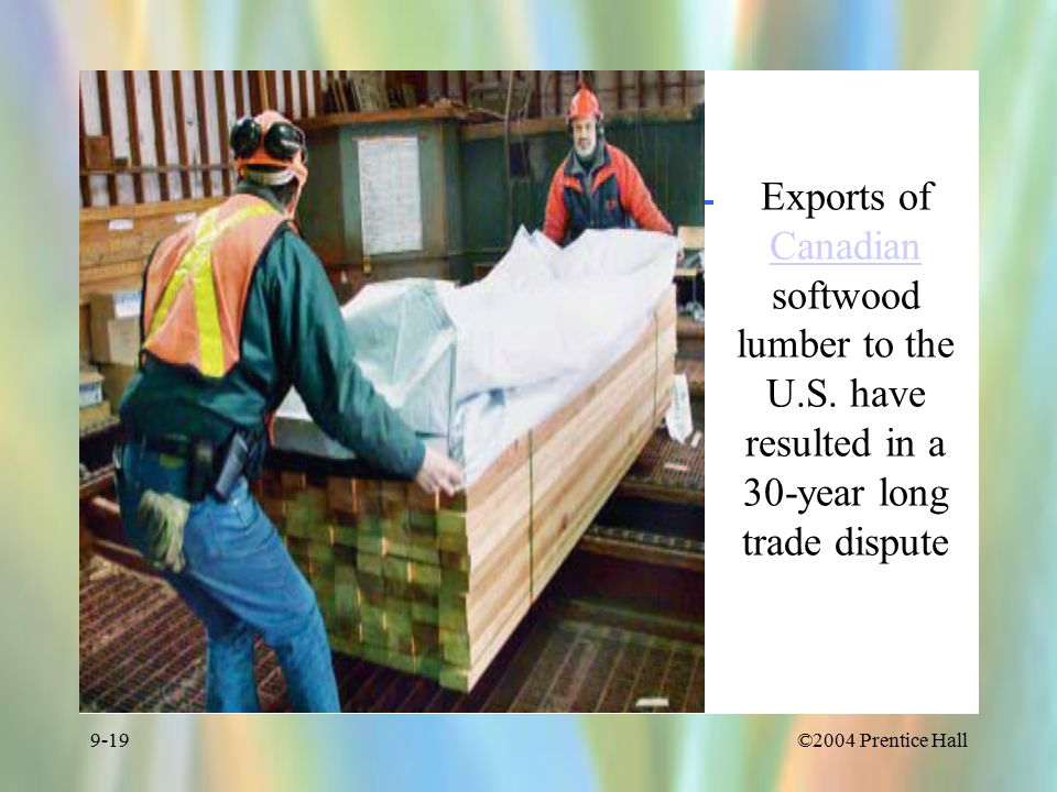©2004 Prentice Hall9-19 Exports of Canadian softwood lumber to the U.S.