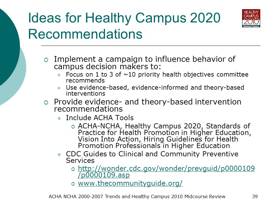 ACHA NCHA Trends and Healthy Campus 2010 Midcourse Review39 Ideas for Healthy Campus 2020 Recommendations  Implement a campaign to influence behavior of campus decision makers to: Focus on 1 to 3 of ~10 priority health objectives committee recommends Use evidence-based, evidence-informed and theory-based interventions  Provide evidence- and theory-based intervention recommendations Include ACHA Tools  ACHA-NCHA, Healthy Campus 2020, Standards of Practice for Health Promotion in Higher Education, Vision Into Action, Hiring Guidelines for Health Promotion Professionals in Higher Education CDC Guides to Clinical and Community Preventive Services    /p asp   /p asp 