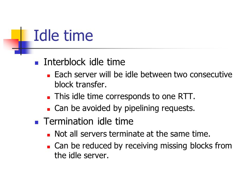 Idle time Interblock idle time Each server will be idle between two consecutive block transfer.