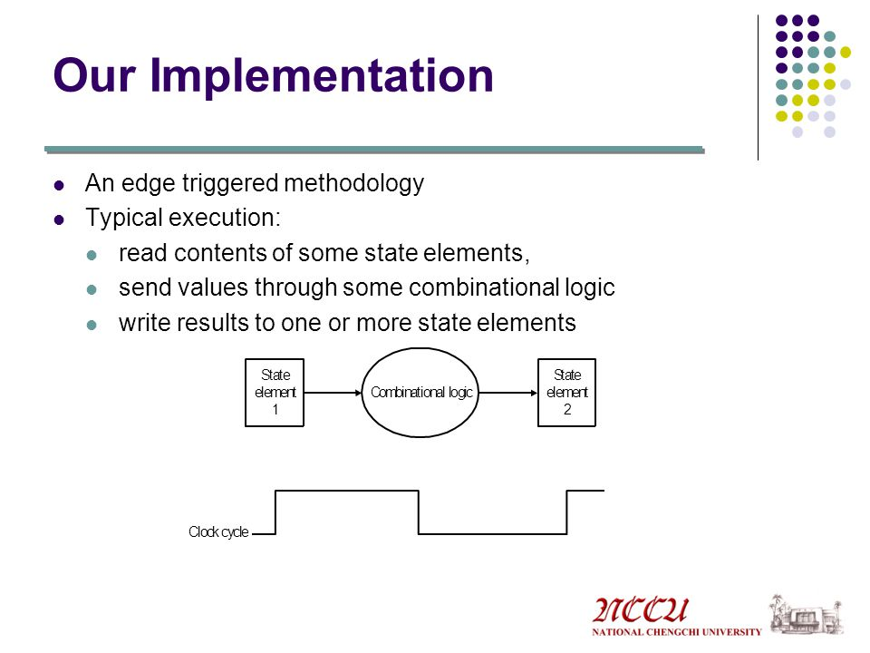 Our Implementation An edge triggered methodology Typical execution: read contents of some state elements, send values through some combinational logic write results to one or more state elements Clock cycle State element 1 Combinational logic State element 2