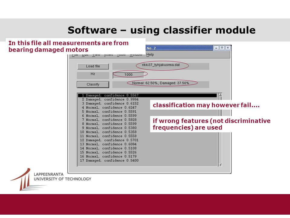 Software – using classifier module In this file all measurements are from bearing damaged motors classification may however fail....