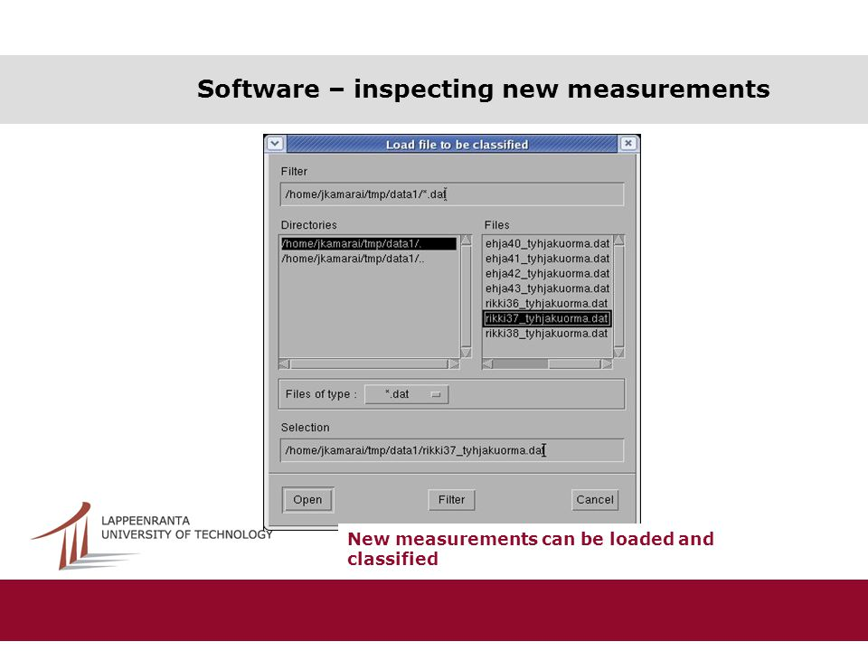 Software – inspecting new measurements New measurements can be loaded and classified