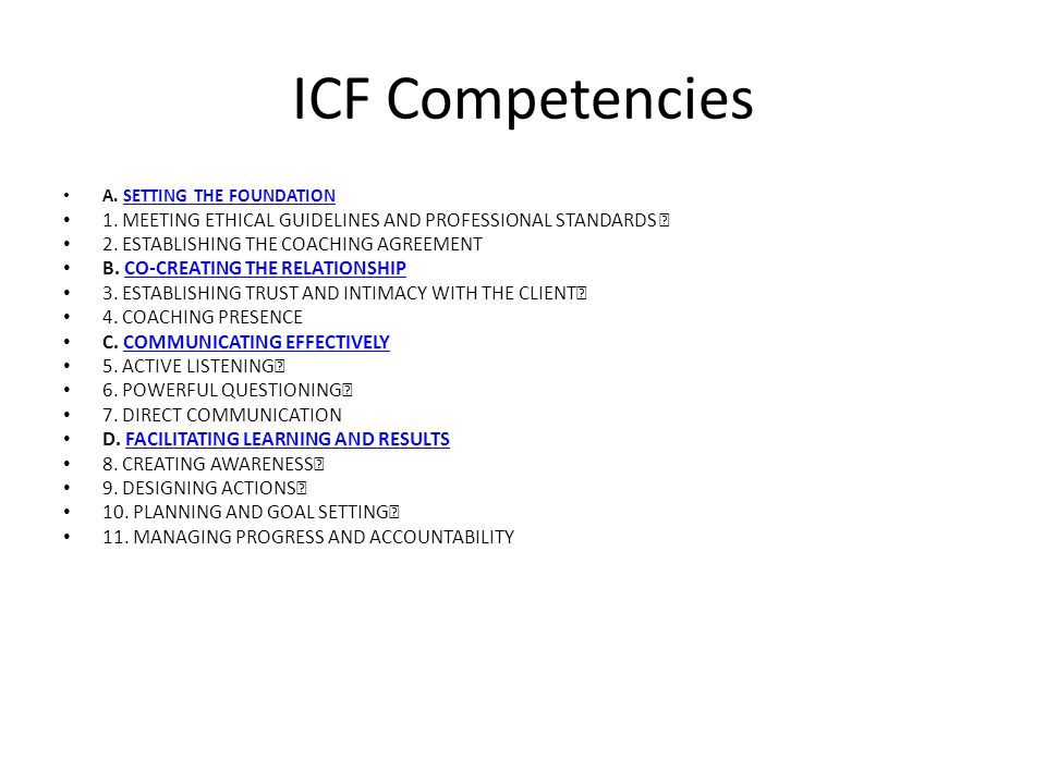 ICF Competencies A. SETTING THE FOUNDATIONSETTING THE FOUNDATION 1.