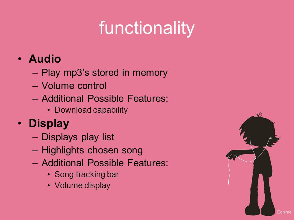 Mp3 player Alma Rico and Amy Wibowo  functionality Audio