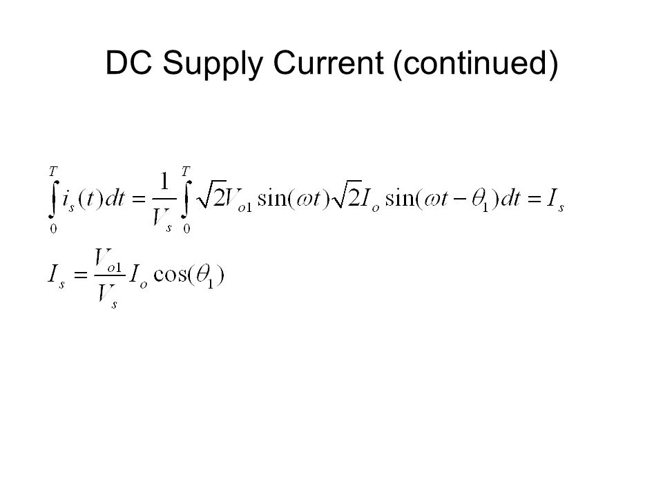 DC Supply Current (continued)