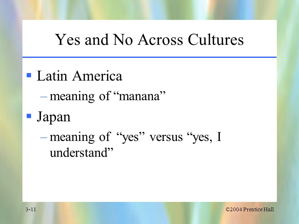 ©2004 Prentice Hall3-11 Yes and No Across Cultures  Latin America –meaning of manana  Japan –meaning of yes versus yes, I understand