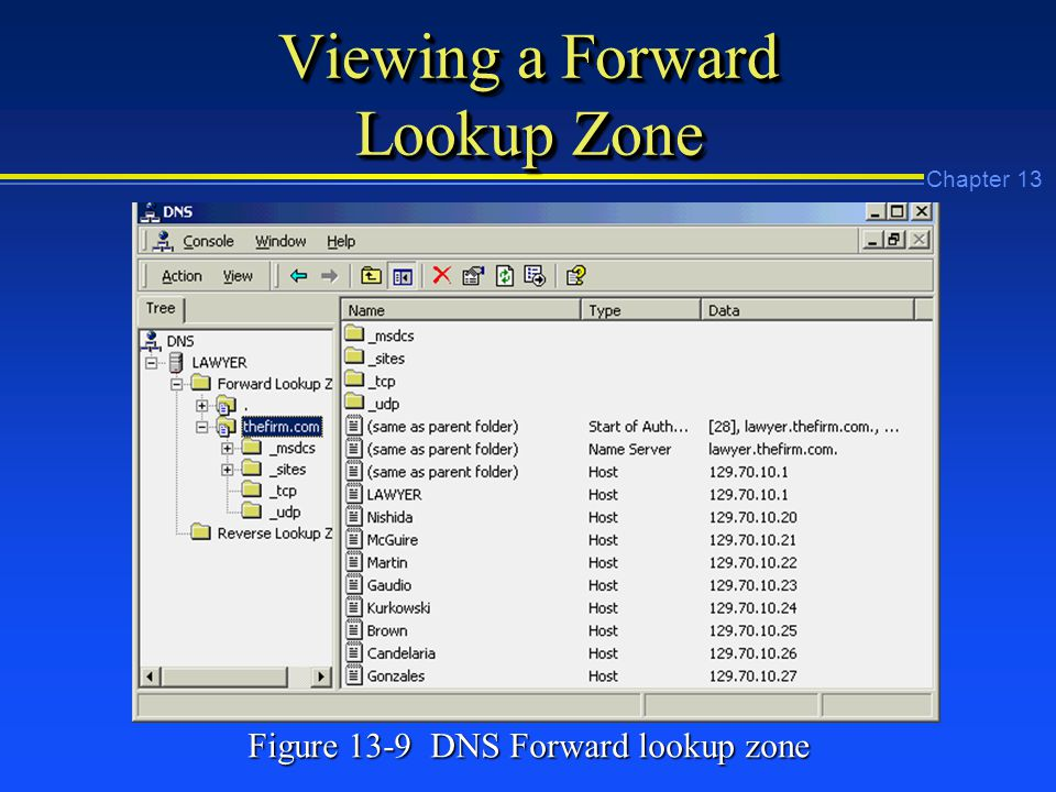 Chapter 13 Viewing a Forward Lookup Zone Figure 13-9 DNS Forward lookup zone