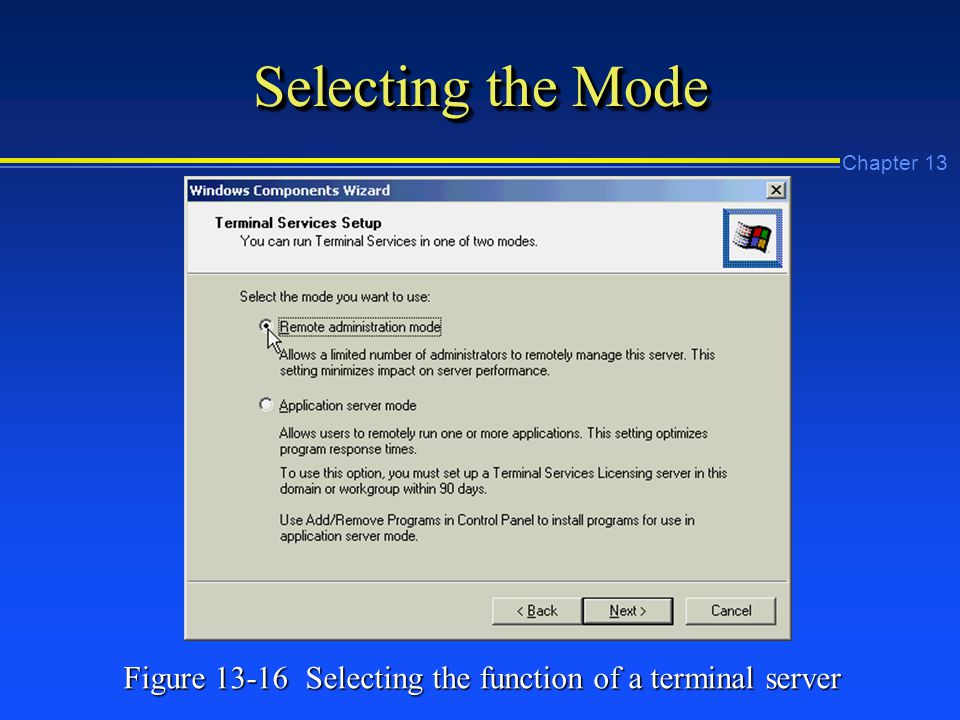 Chapter 13 Selecting the Mode Figure Selecting the function of a terminal server