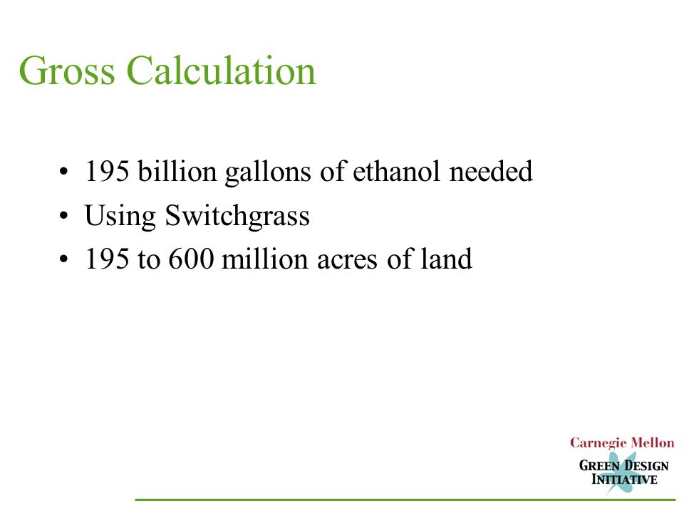 Gross Calculation 195 billion gallons of ethanol needed Using Switchgrass 195 to 600 million acres of land