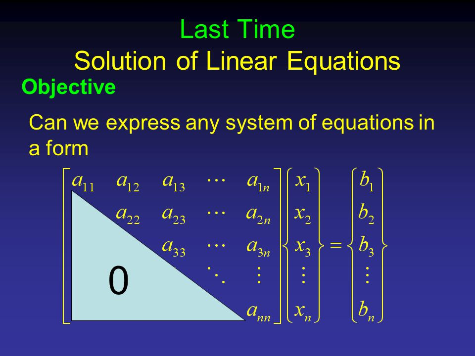 Last Time Solution of Linear Equations Objective Can we express any system of equations in a form 0