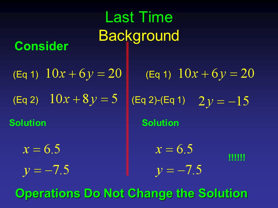 Last Time Background Consider (Eq 1) (Eq 2)-(Eq 1) Solution !!!!!.
