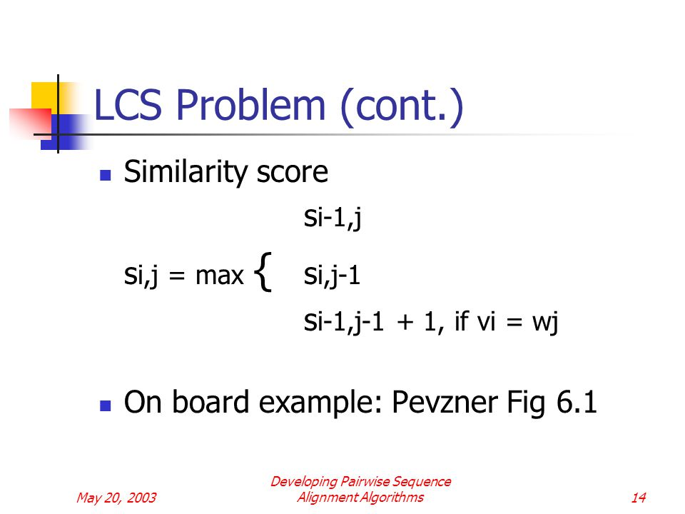 May 20, 2003 Developing Pairwise Sequence Alignment Algorithms14 LCS Problem (cont.) Similarity score s i-1,j s i,j = max { s i,j-1 s i-1,j-1 + 1, if vi = wj On board example: Pevzner Fig 6.1