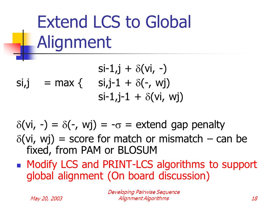 May 20, 2003 Developing Pairwise Sequence Alignment Algorithms18 Extend LCS to Global Alignment si-1,j +  (vi, -) si,j= max {si,j-1 +  (-, wj) si-1,j-1 +  (vi, wj)  (vi, -) =  (-, wj) = -  = extend gap penalty  (vi, wj) = score for match or mismatch – can be fixed, from PAM or BLOSUM Modify LCS and PRINT-LCS algorithms to support global alignment (On board discussion)