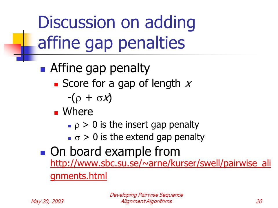 May 20, 2003 Developing Pairwise Sequence Alignment Algorithms20 Discussion on adding affine gap penalties Affine gap penalty Score for a gap of length x -(  +  x) Where  > 0 is the insert gap penalty  > 0 is the extend gap penalty On board example from   gnments.html   gnments.html