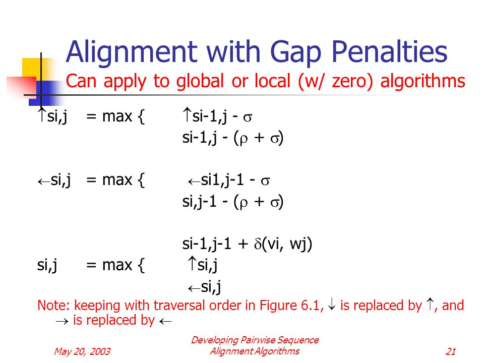 May 20, 2003 Developing Pairwise Sequence Alignment Algorithms21 Alignment with Gap Penalties Can apply to global or local (w/ zero) algorithms  si,j= max {  si-1,j -  si-1,j - (  +  )  si,j= max {  si1,j-1 -  si,j-1 - (  +  ) si-1,j-1 +  (vi, wj) si,j= max {  si,j  si,j Note: keeping with traversal order in Figure 6.1,  is replaced by , and  is replaced by 
