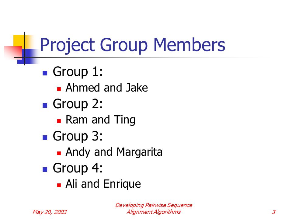 May 20, 2003 Developing Pairwise Sequence Alignment Algorithms3 Project Group Members Group 1: Ahmed and Jake Group 2: Ram and Ting Group 3: Andy and Margarita Group 4: Ali and Enrique