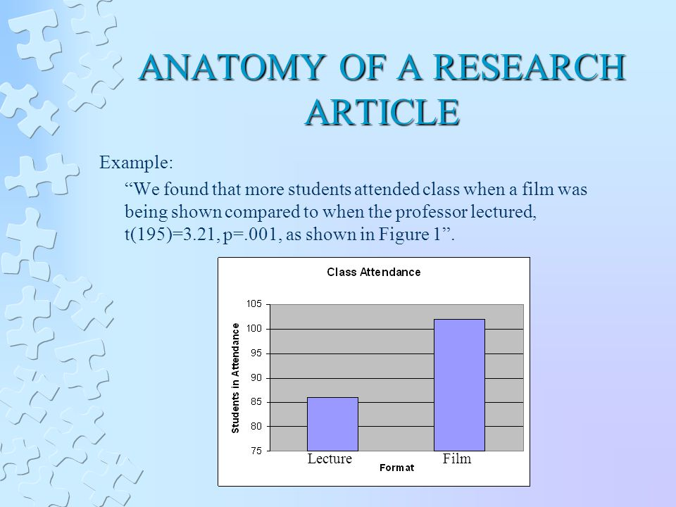 ANATOMY OF A RESEARCH ARTICLE Example: We found that more students attended class when a film was being shown compared to when the professor lectured, t(195)=3.21, p=.001, as shown in Figure 1 .